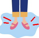 皮膚感覚の乱れ、きつい下着や靴など。